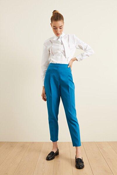 adL Kadın Mavi Fleto Cepli Pileli Pantolon