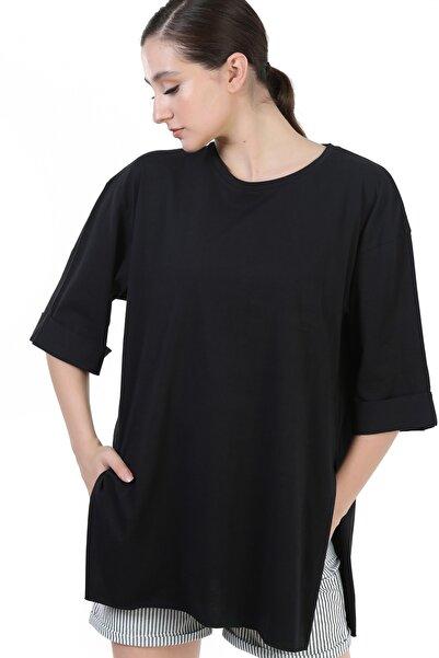 YOYOSO Kadın Oversize Duble Kol Basıc T-Shirt