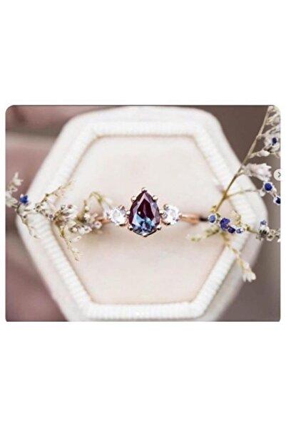 LOTUS GÜMÜŞ Kadın Rose Mistik Topaz Ayarlanabilen 925 Ayar Gümüş Yüzük