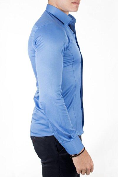 DeepSEA Erkek Saks Mavi Dar Kalıp Pensli Klasik Gömlek
