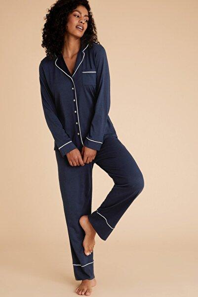 Marks & Spencer Kadın Lacivert Modal Karışımlı Pijama Takımı T37001566J