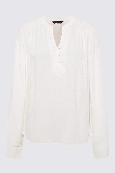 Marks & Spencer Kadın Bej Uzun Kollu Viskoz Bluz T43003269