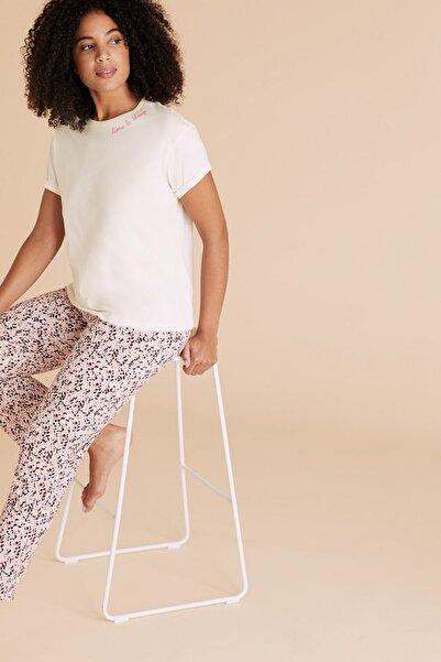 Marks & Spencer Kadın Pembe Saf Pamuklu Desenli Pijama Takımı T37004412F