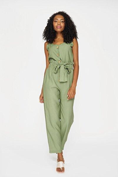 Batik Kadın Haki Duz Casual Pantolon Y10906 Dkm