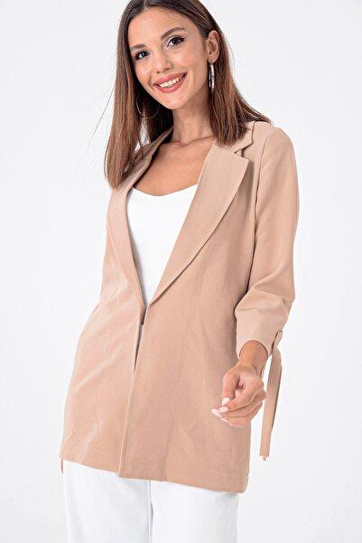 By Saygı Kadın Bej Kolu Bağcıklı Double Likralı Kumaş Ceket S-21K3670023
