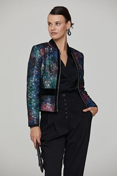 RENGIN Kadın Siyah Dantel Kaplı Fermuarlı Payet Ceket