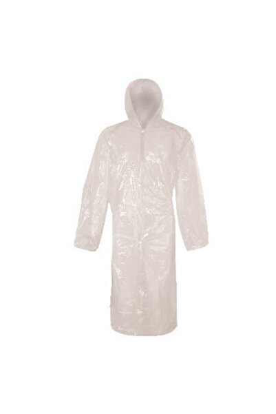 PR Unisex Beyaz Çıtçıtlı Kullan At Tek Kullanımlık Yağmurluk 5 Adet