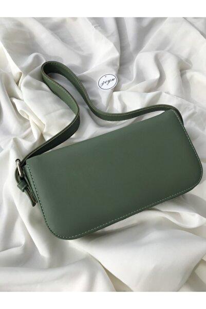 Zeyn Kadın Yeşil Kapaklı Baget Omuz Çantası