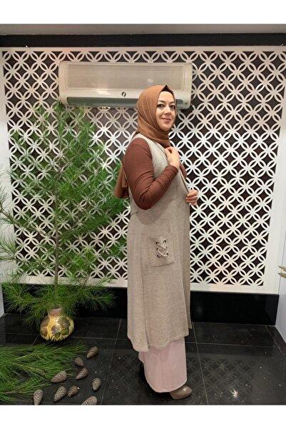 Tuna Kadın Bej Uzun Yelek