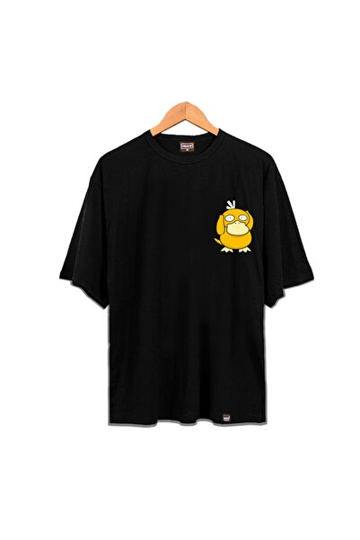 Venice Unisex Siyah Oversize Psyduck Tshirt