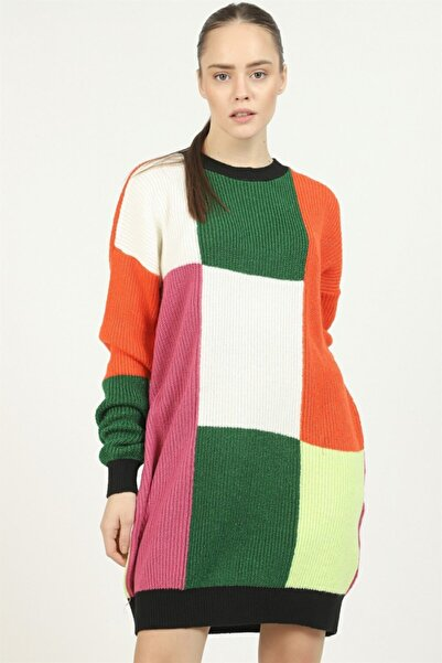 İklim Şardonlu Renkli Triko Tunik