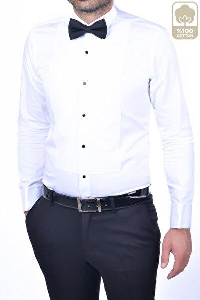 BAGGI Slim Fit Ata Yaka Pliseli Gömlek Beyaz