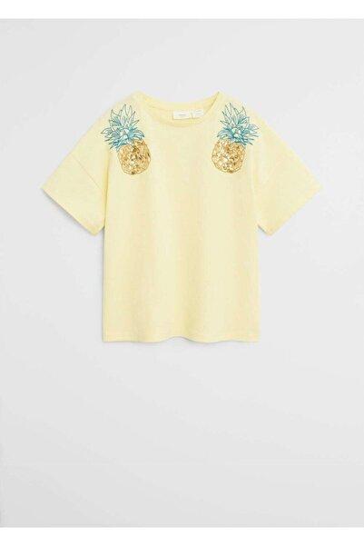 MANGO Kids Boncuklu organik pamuklu tişört