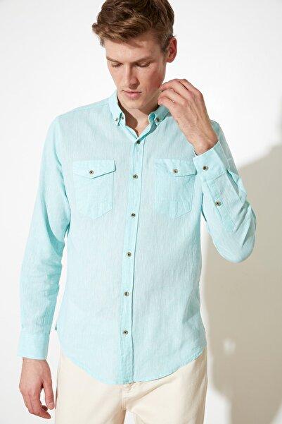 TRENDYOL MAN Mint Erkek Keten Çift Cep Kapaklı Slim Fit Gömlek TMNSS20GO0100