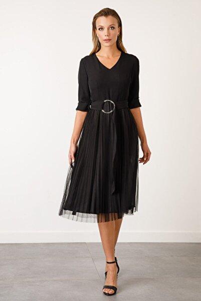 Ekol Kadın Siyah V Yaka Piliseli Elbise