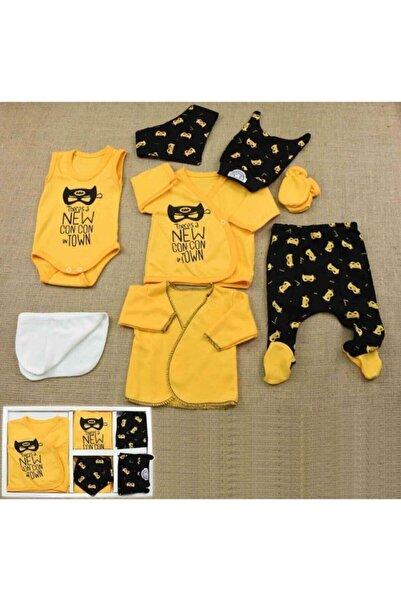 Donino Baby Erkek Bebek Siyah -Sarı Concon Baby Hastane Çıkış Seti Batman Desenli 8'li Yeni Doğan