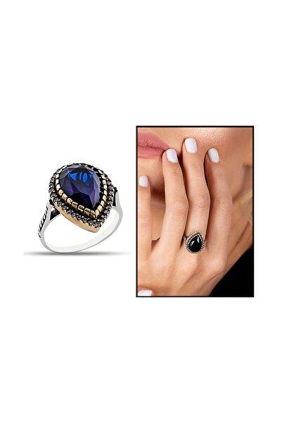Tesbihane Kadın 925 Ayar Gümüş Zirkon Ve Mavi Ruby Taşlı Damla Tasarım Otantik Yüzük