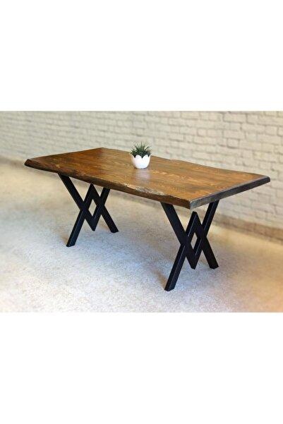 AVVİO Belinay  Doğal Ağaç  Kütük Masa Yemek Masası ( Metal Ayak )