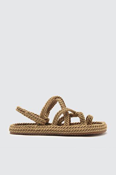 TRENDYOLMİLLA Bej Hasır Halat İpli Kadın Sandalet TAKSS21SD0002