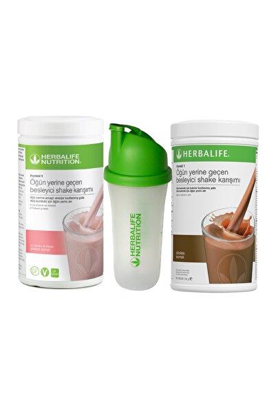 Herbalife Yeni Ahududu Shake 550 gr + Çikolatalı Shake 550gr + Shaker Hediye