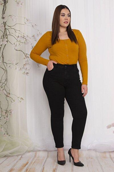 Şans Kadın Siyah 5 Cepli Kot Pantolon 65N22556