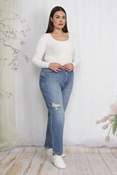 Kadın Mavi Yırtık Detaylı Kot Pantolon 65N22549