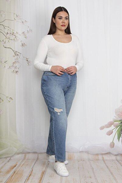 Şans Kadın Mavi Yırtık Detaylı Kot Pantolon 65N22549