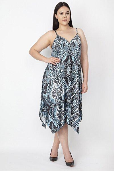 Şans Kadın Turkuaz İp Askılı Asimetrik Elbise 65N22460