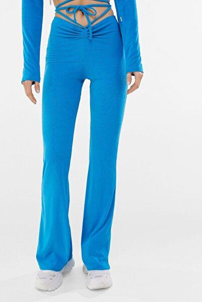 Bershka Kadın Mavi İşlemeli ��eritli Palazzo Pantolon 00155813