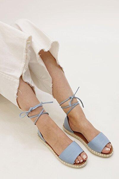 Marjin Vaterin Kadın Hakiki Deri Günlük Sandaletmavi