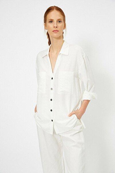 Koton Kadın Ekru Cep Detaylı Gömlek 0YAK66090IW