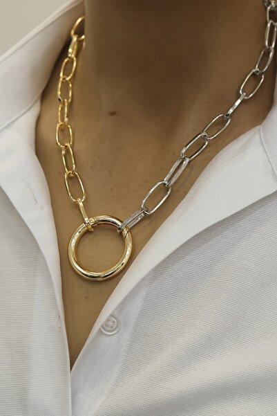 Marjin Kadın Halka Tasarım Altın-gümüş Renkli Zincir Kolyemulti