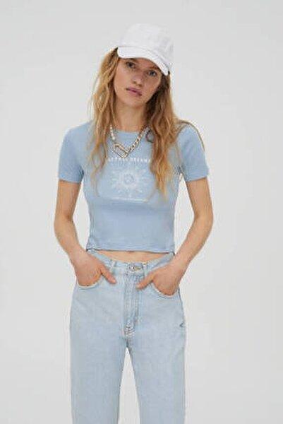 Kadın  Mavi Gri Grafik Baskılı Fitilli T-Shirt 09247324
