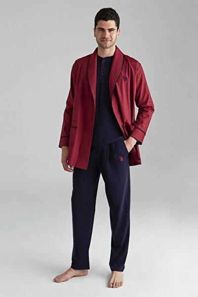 U.S. Polo Assn. Erkek Bordo 1 Uzun Kollu Pijama +1 Kısa Kollu Şortlu Takım+1 Sabahlık