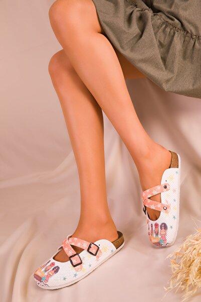 SOHO Beyaz-Turuncu Kadın Terlik 14736