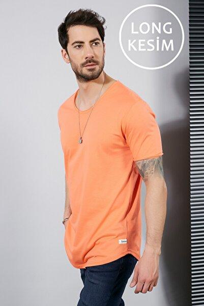 Sateen Men Erkek Oranj Kısa Kol Long Kesim Basic T-Shirt