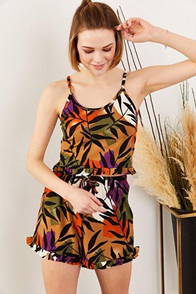 Olalook Kadın Yaprak Taba Askılı Fırfırlı Pijama Takımı TKM-19000076