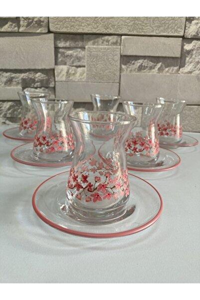 Rakle Pembe 12 Parça Desenli Çay Bardağı