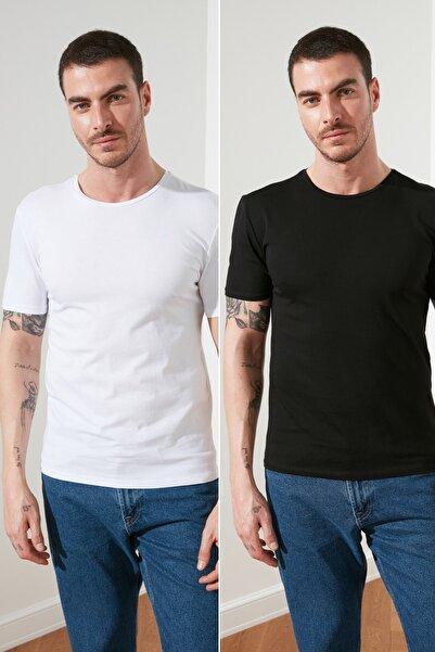 TRENDYOL MAN Çok Renkli Erkek 2'li Basic Paket Slim Fit T-Shirt TMNSS19BO0075