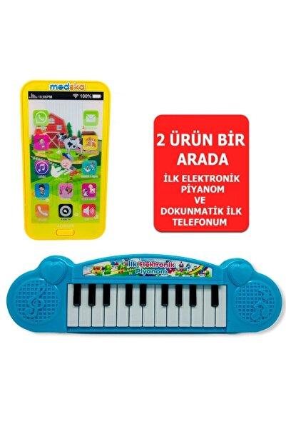 Medska Türkçe Müzikli Hayvan Sesli Dokunmatik Telefon Sarı Ve Piyano 22 Tuşlu Sesli Ilk Elektronik Piyano