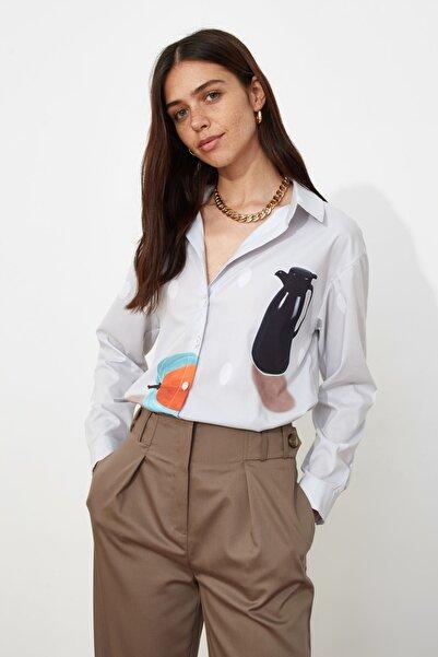 TRENDYOLMİLLA Taş Baskılı Gömlek TWOSS21GO0192