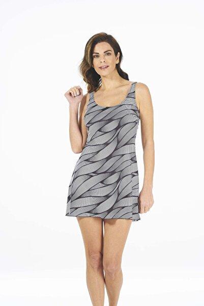 Estiva Kadın Siyah Çizgi Desenli Alttan Şortlu Askılı Esnek Elbise Mayo