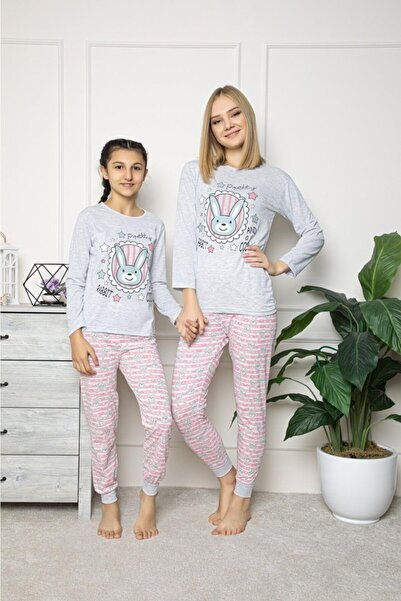 Souffle Boutique Wom Prive Pembe Tavşan Baskılı Gri Anne Kız Kombin Pijama Takımı