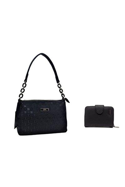 TREND Kadın Siyah Minimal Baskılı Omuz Çanta Ve Cüzdan Seti