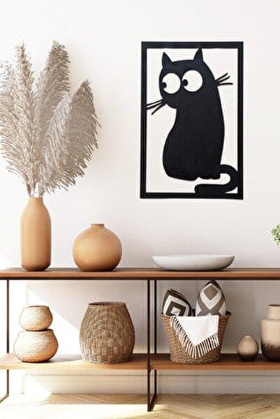 Kedi Desenli Ahşap Duvar Dekoru
