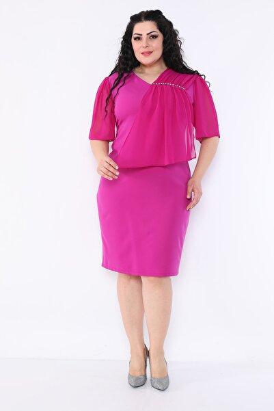etselements V Yaka Taş Baskılı Şifon Klasik Elbise