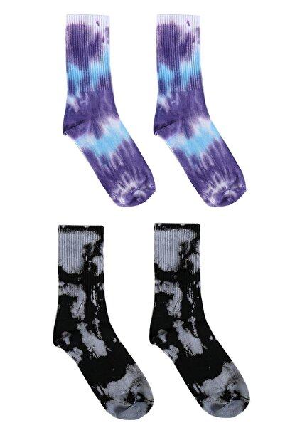 New Obsessions Kadın Mor Renkli 2'li Batik Çorap Seti