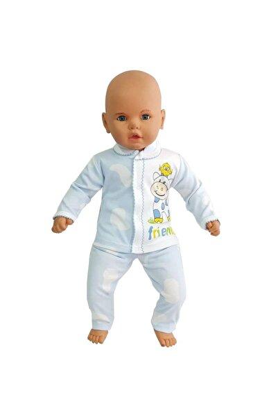 bebegen Erkek Inek Baskılı Mavi Beyaz Lekeli 2'li Bebek Takım