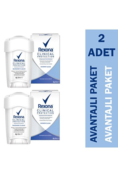 Rexona Clinical Protection Shower Clean Kadın Deodorant 2'li Paket Fırsat