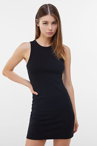 Bershka Kadın Siyah Fitilli Mini Elbise